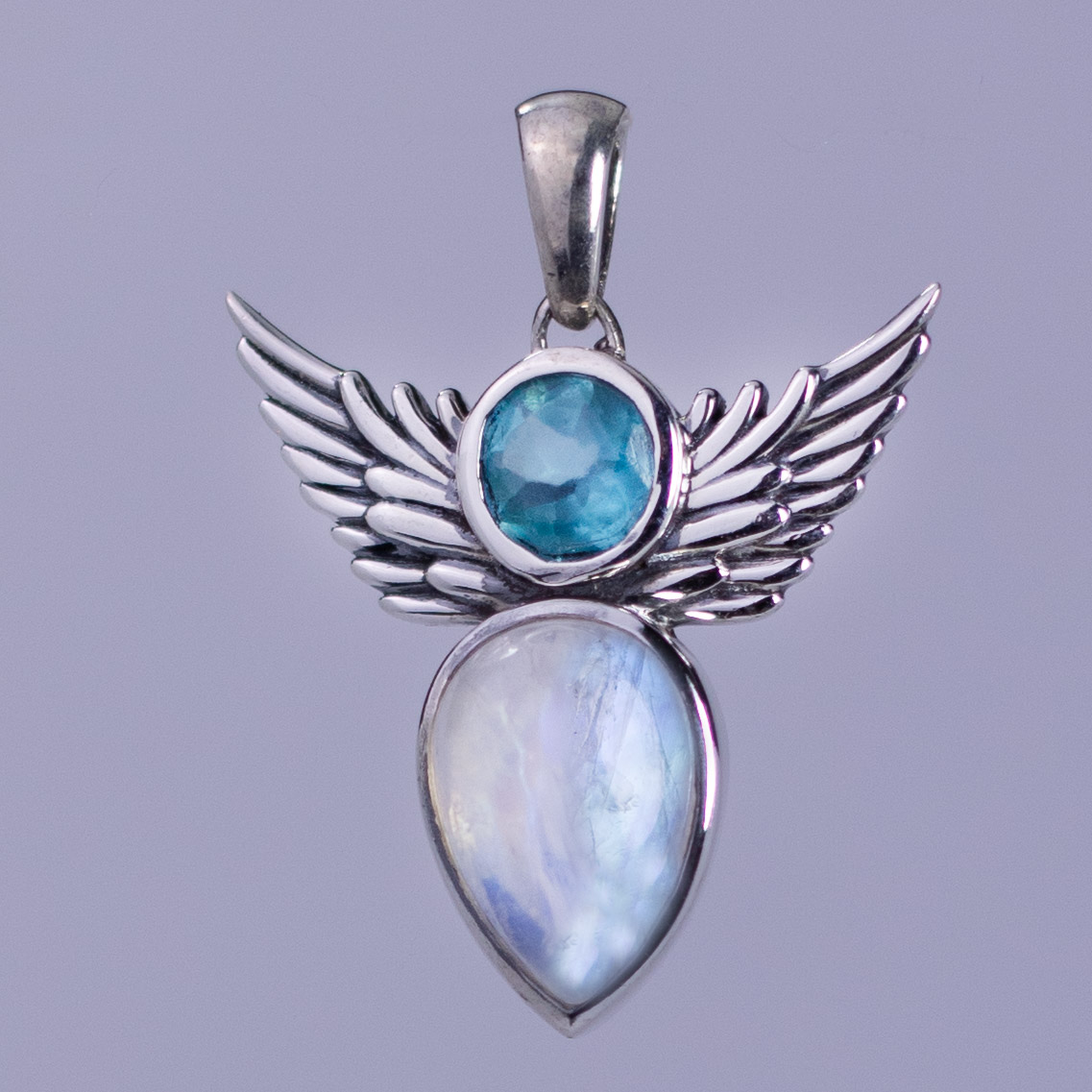 Angel Wing Moonstone Apatite Pendant
