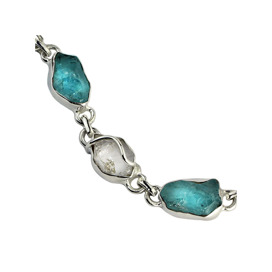 Apatite Rough & Herkimer Diamond Bracelet