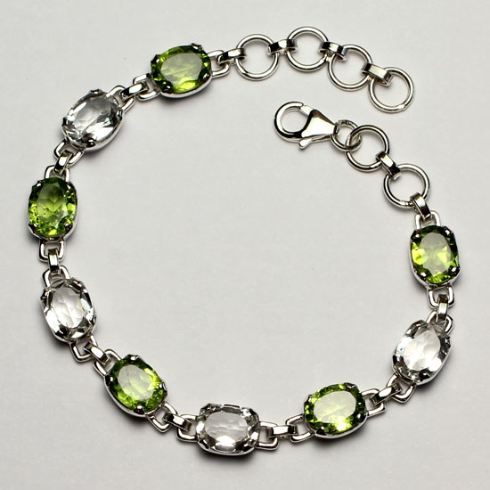 Peridot and White Topaz Bracelet