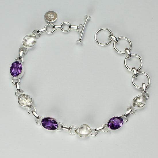 Amethyst & Herkimer Diamond Bracelet