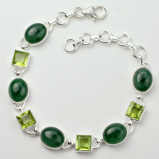 Jade And Peridot Forest Bracelet