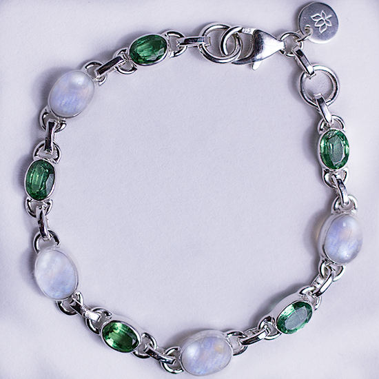 Moonstone and Green Kyanite Bracelet