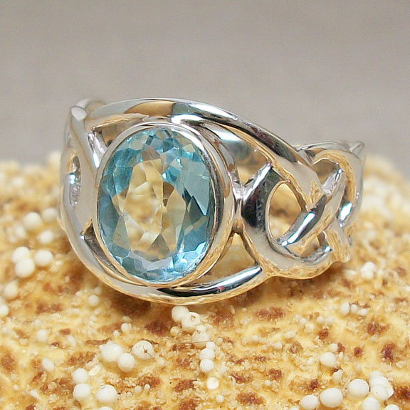 Blue Topaz Celtic Ring