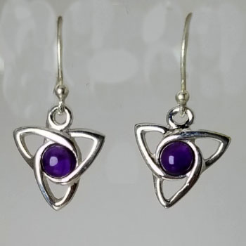 Amethyst Celtic Triskelion Earrings