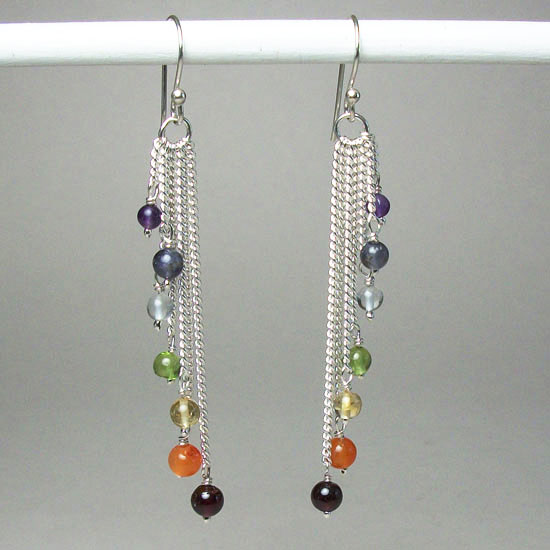 Chakra Cascading Bead Earrings
