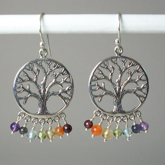 Tree-of-Life Chakra Earrings