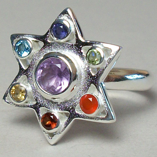 Chakra Star Hexagram Ring