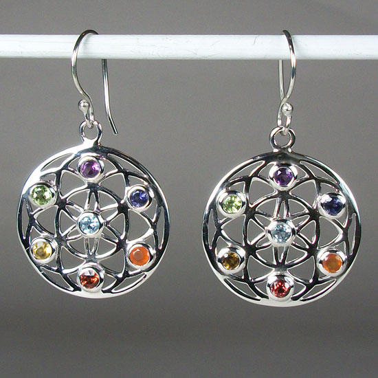 Chakra Flower of Life Earrings
