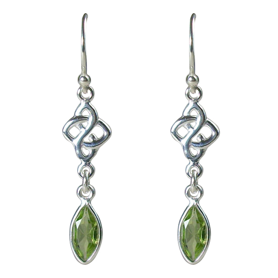 Peridot Celtic Love Knot Earrings