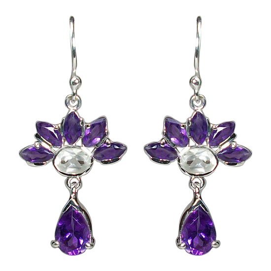 Amethyst/Crystal Loves Me Earrings