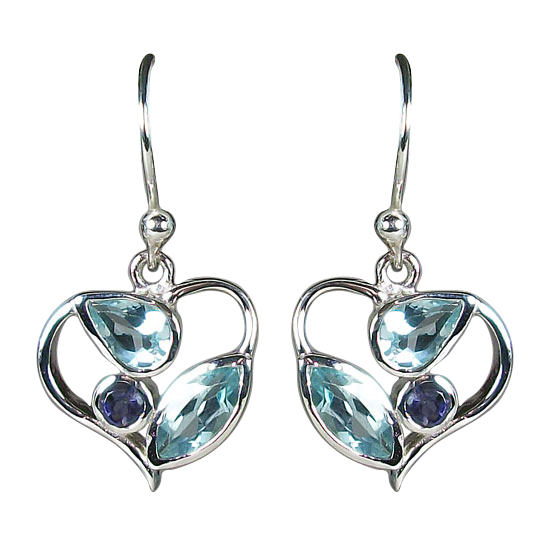 Topaz/Iolite Fun Loving Heart Earrings
