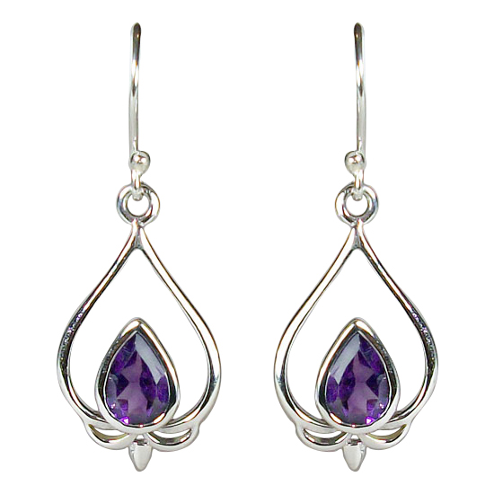 Amethyst Lovely Lotus Petal Earrings