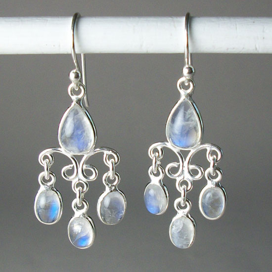 Moonstone Rainbow Tears Earrings