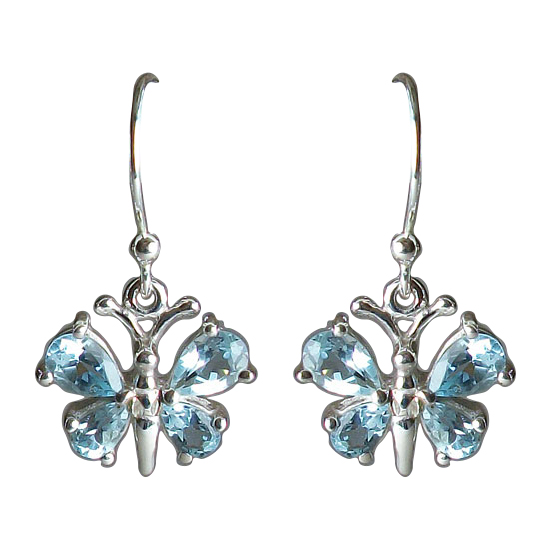 Blue Topaz Butterfly Earrings