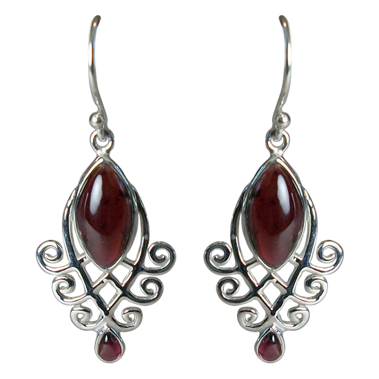 Garnet Marquise Filigree Earrings