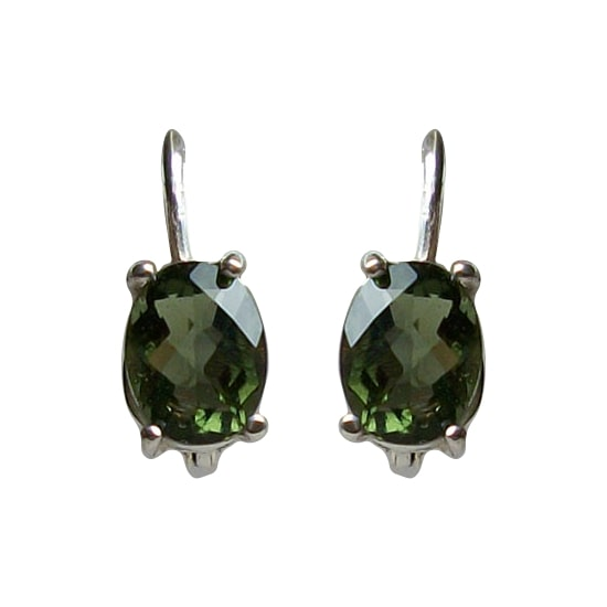 Moldavite Faceted Earrings