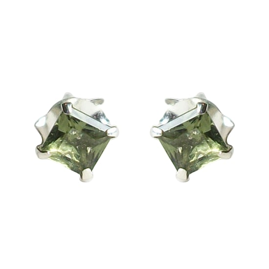 Moldavite Post Earrings