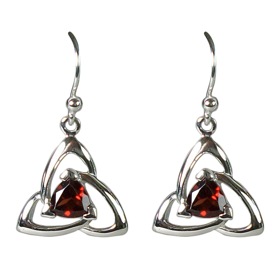 Garnet Celtic Trillion Earrings
