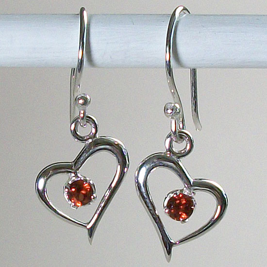 Garnet Sweet-Hearts Earrings