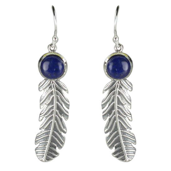 Lapis Native Feather Earrings