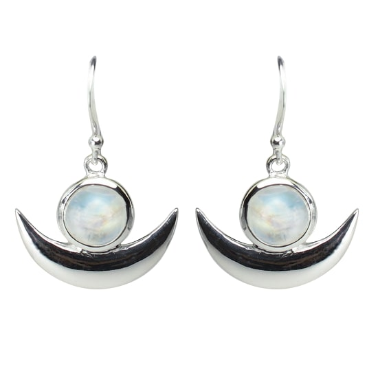 Moonstone Crescent Moon Goddess Earrings