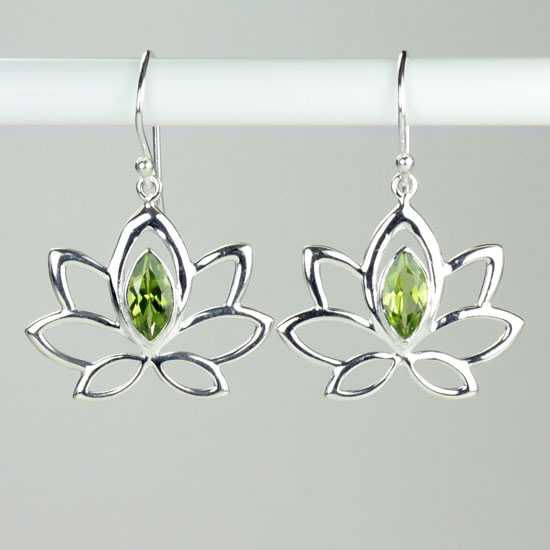 Lotus of the Lake Peridot Earrings
