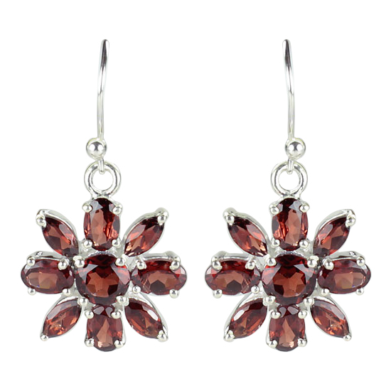 Garnet Flower Petal Earrings