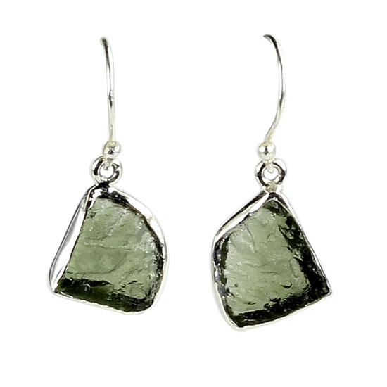 Moldavite Freeform Earrings