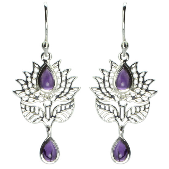 Amethyst Lotus Filigree Earrings
