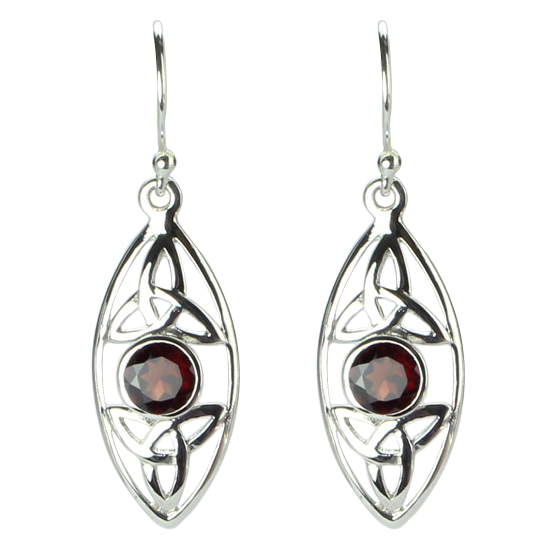 Garnet Celtic Triskelion Earrings
