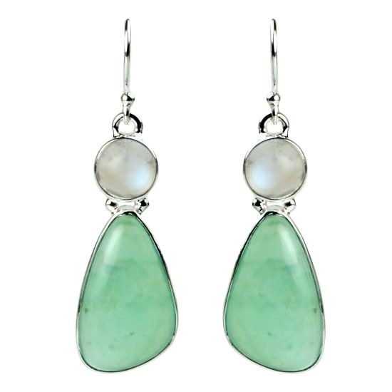 Chrysoprase Freeform & Moonstone Earrings