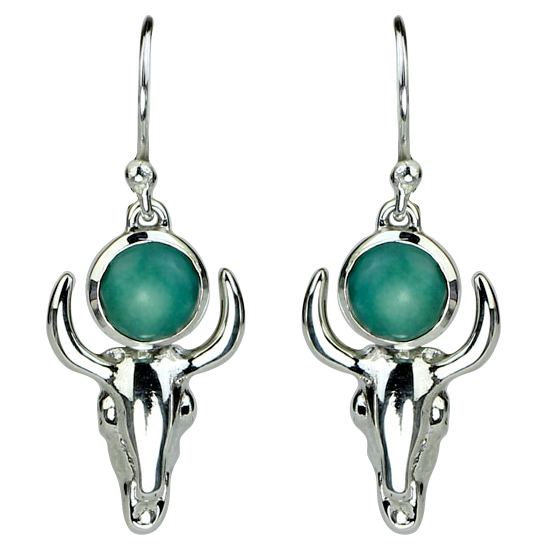 Turquoise Buffalo Skull Pure Free Spirit Earrings