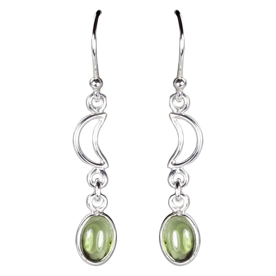 Peridot Oval Cabochon w/Half Moon Earrings