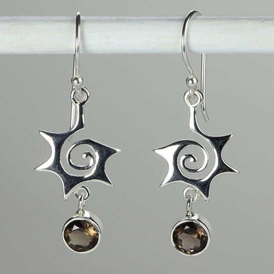 Smokey Quartz Crazy Spiral Earrings