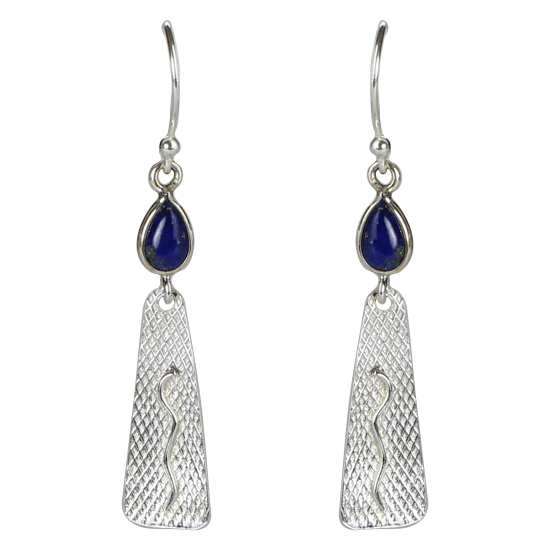 Lapis Snake Charm Earrings