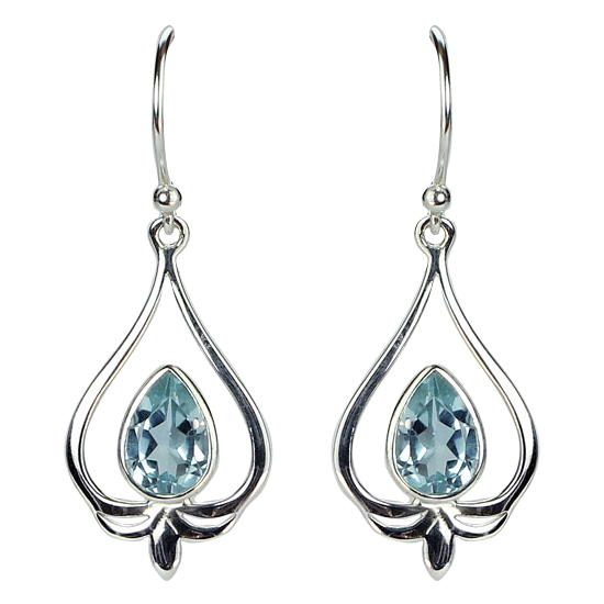 Blue Topaz Lovely Lotus Petal Earrings