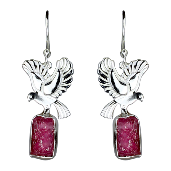 Pink Tourmaline Peace Birds