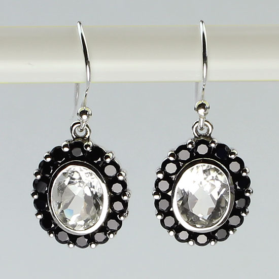 Black Spinel & White Topaz Exotica Earrings