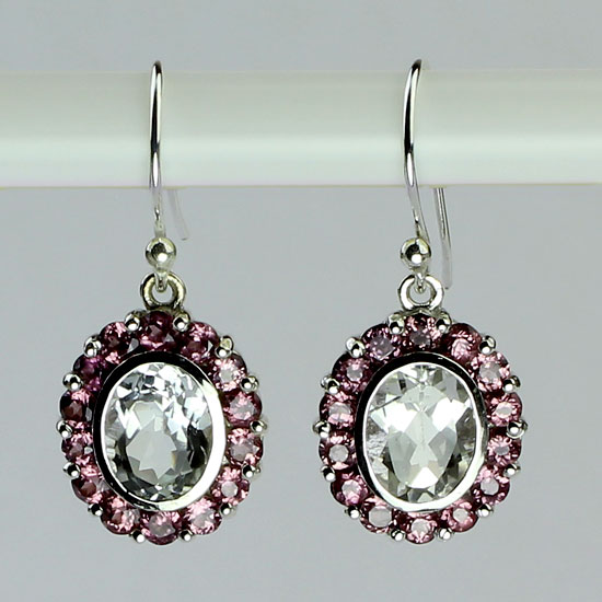 White Topaz & Pink Garnet Exotica Earrings