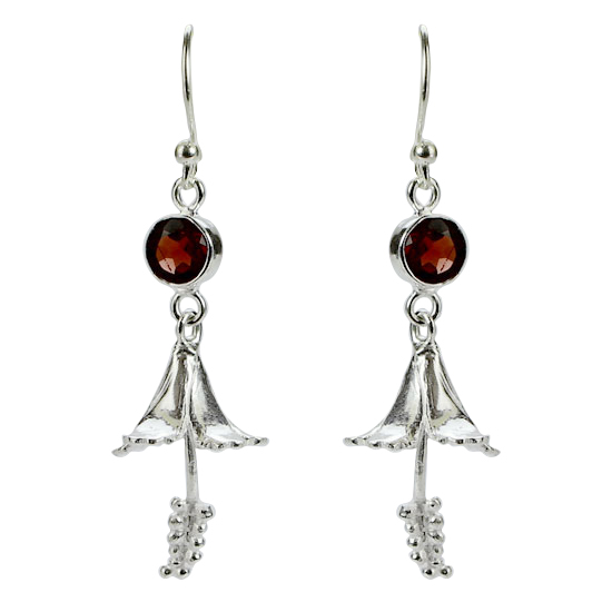 Garnet Hibiscus Earrings