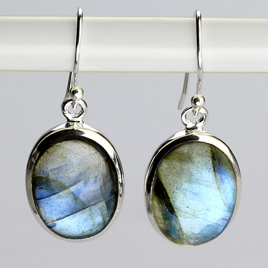Labradorite Oval Cabochon Earrings