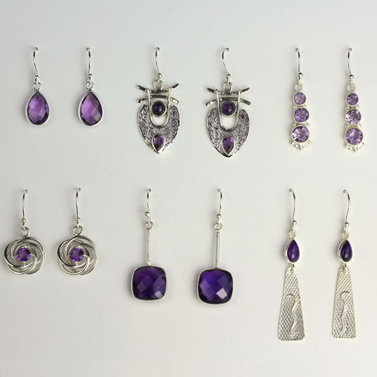Amethyst 6 Earrings Assortment