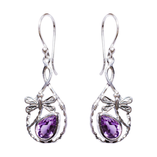 Amethyst Dancing Dragonfly Earrings