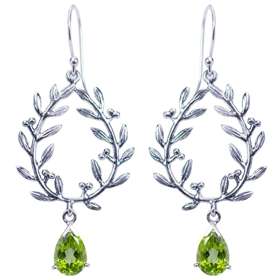 Peridot Laurel Wreath Earrings