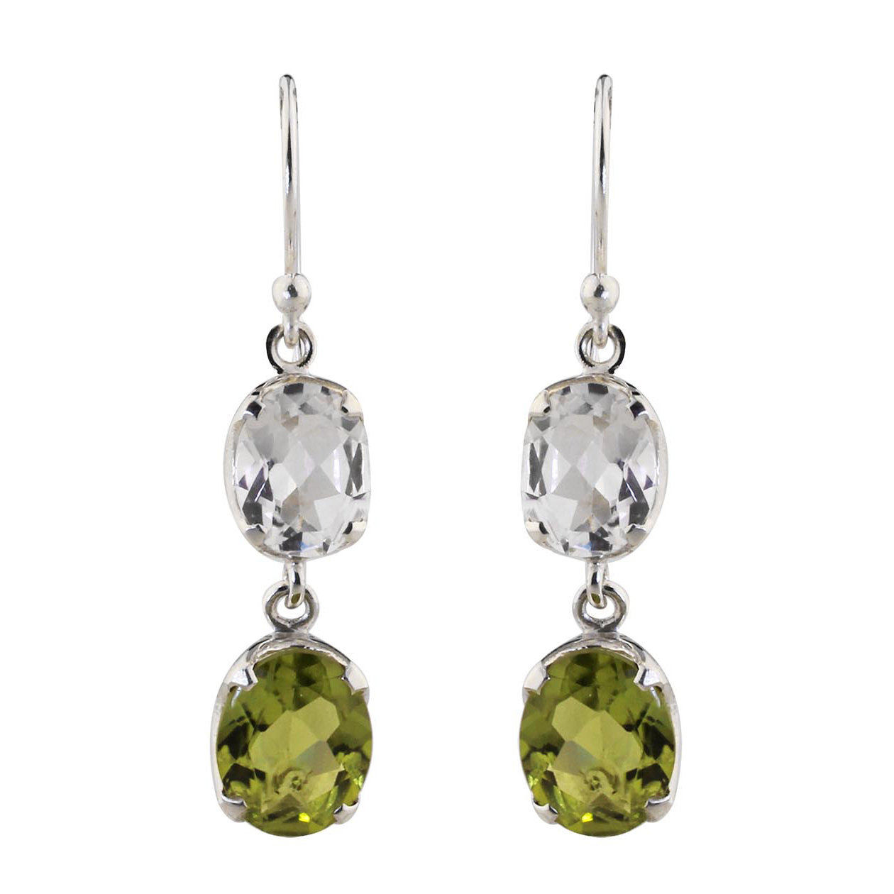 Peridot Crystal Quartz Earrings