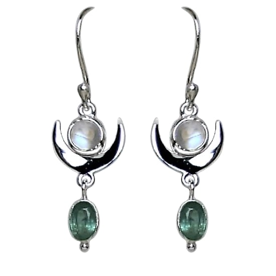 Moonstone Green Kyanite Crescent Moon Earrings