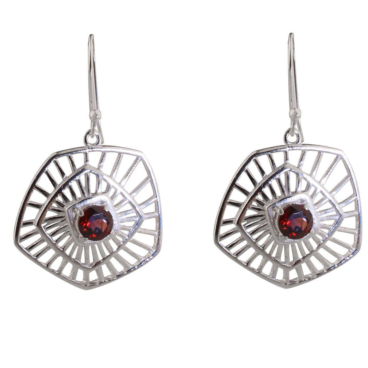 Garnet Op Art Earrings