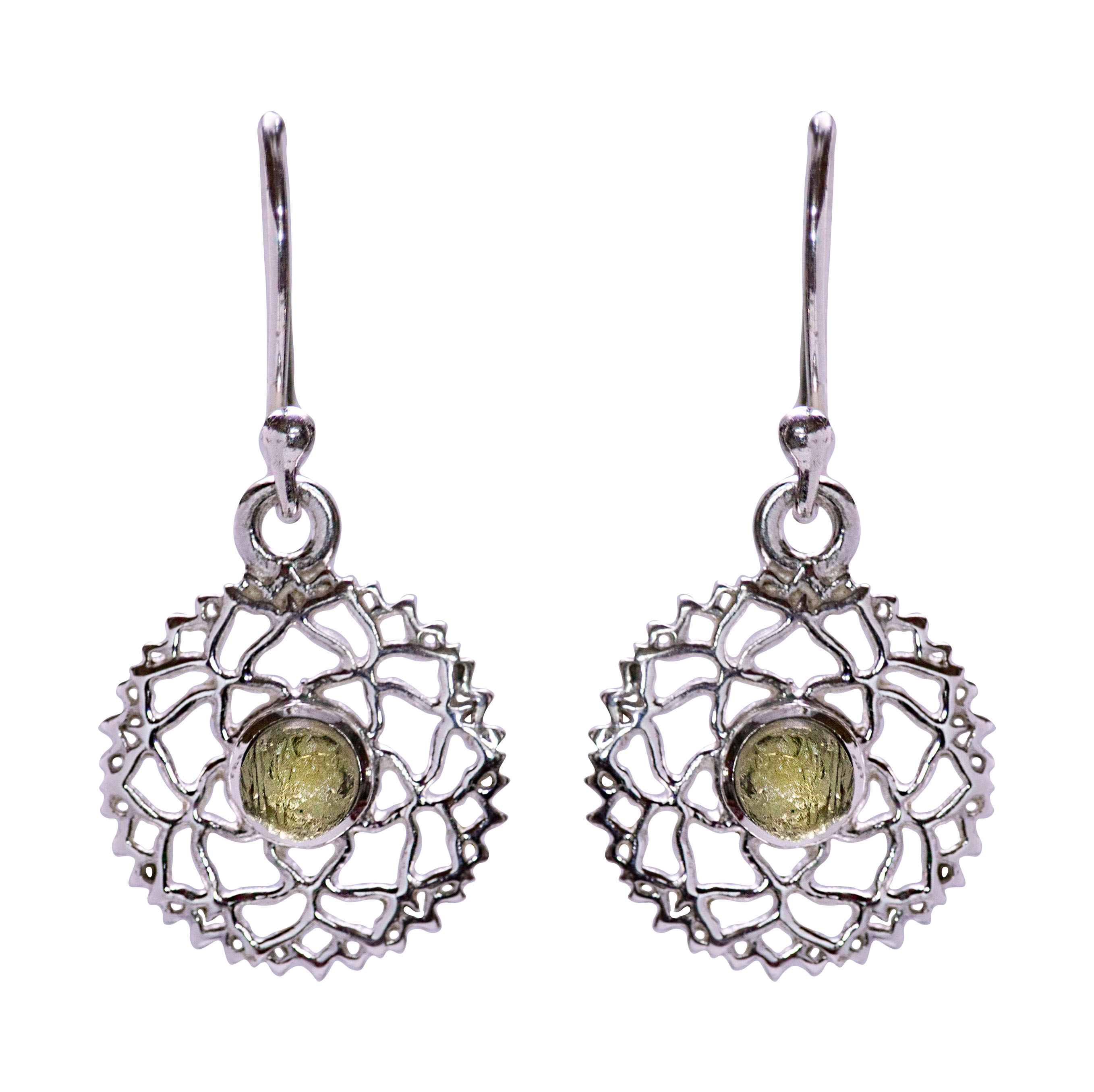 Moldavite Mandala Earrings