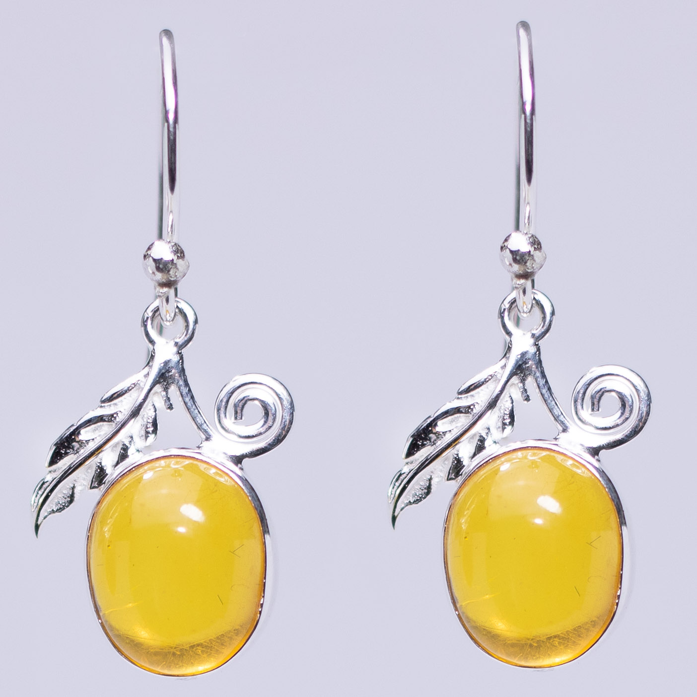 Baltic Amber Leaf and Swirl Earrings