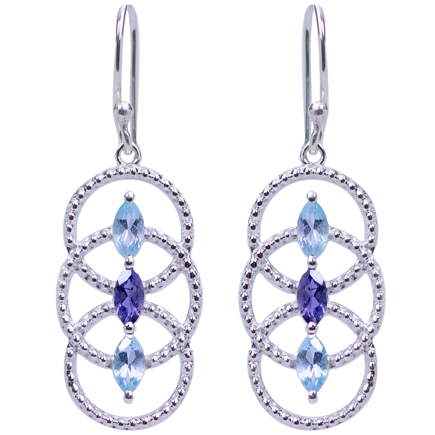 Blue Topaz Iolite Circles of Life Earrings